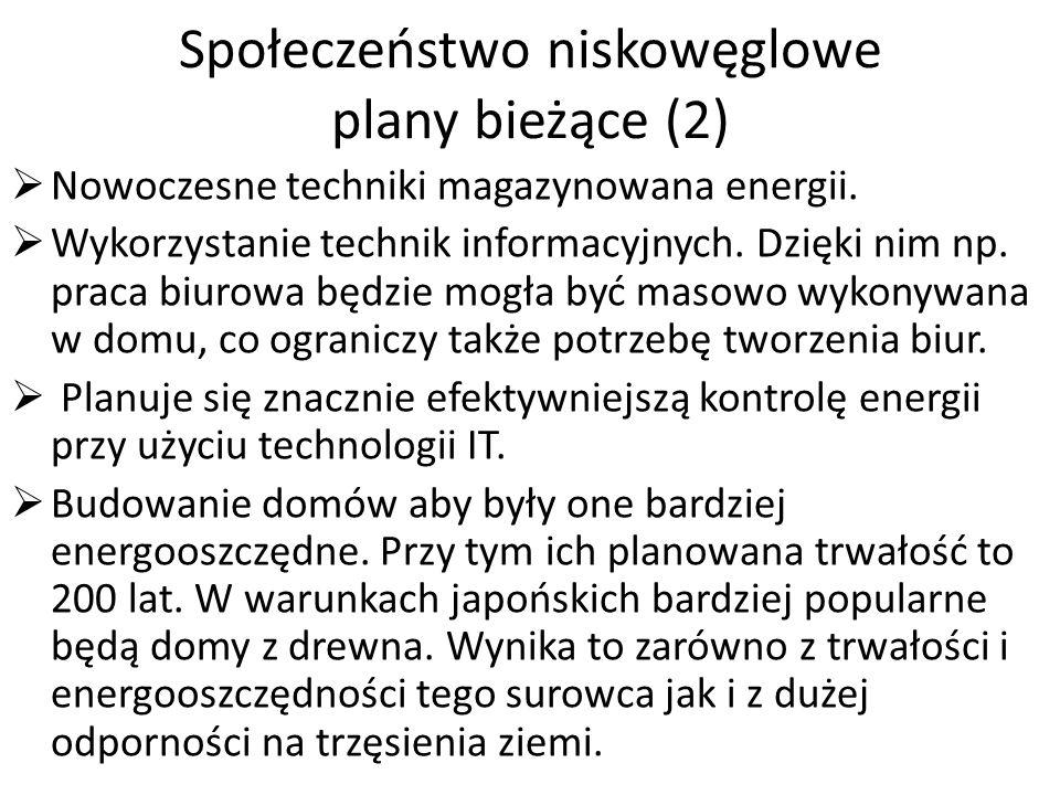 Społeczeństwo niskowęglowe plany bieżące (2) Nowoczesne techniki magazynowana energii.