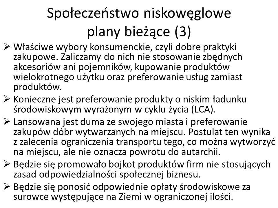 Społeczeństwo niskowęglowe plany bieżące (3) Właściwe wybory konsumenckie, czyli dobre praktyki zakupowe.