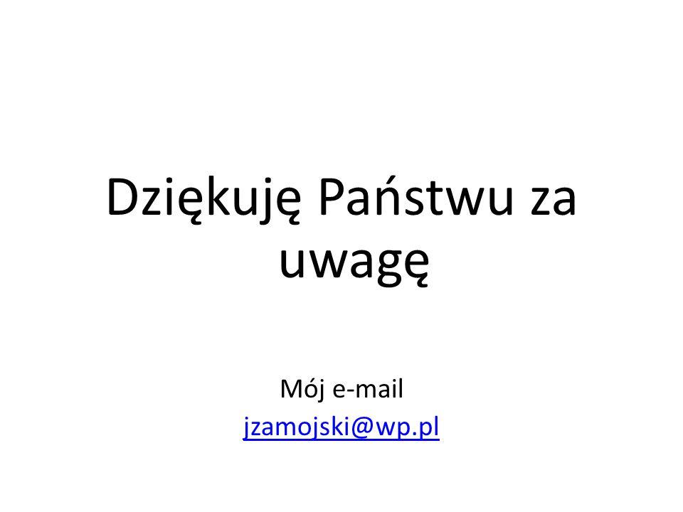 Dziękuję Państwu za uwagę Mój e-mail jzamojski@wp.pl