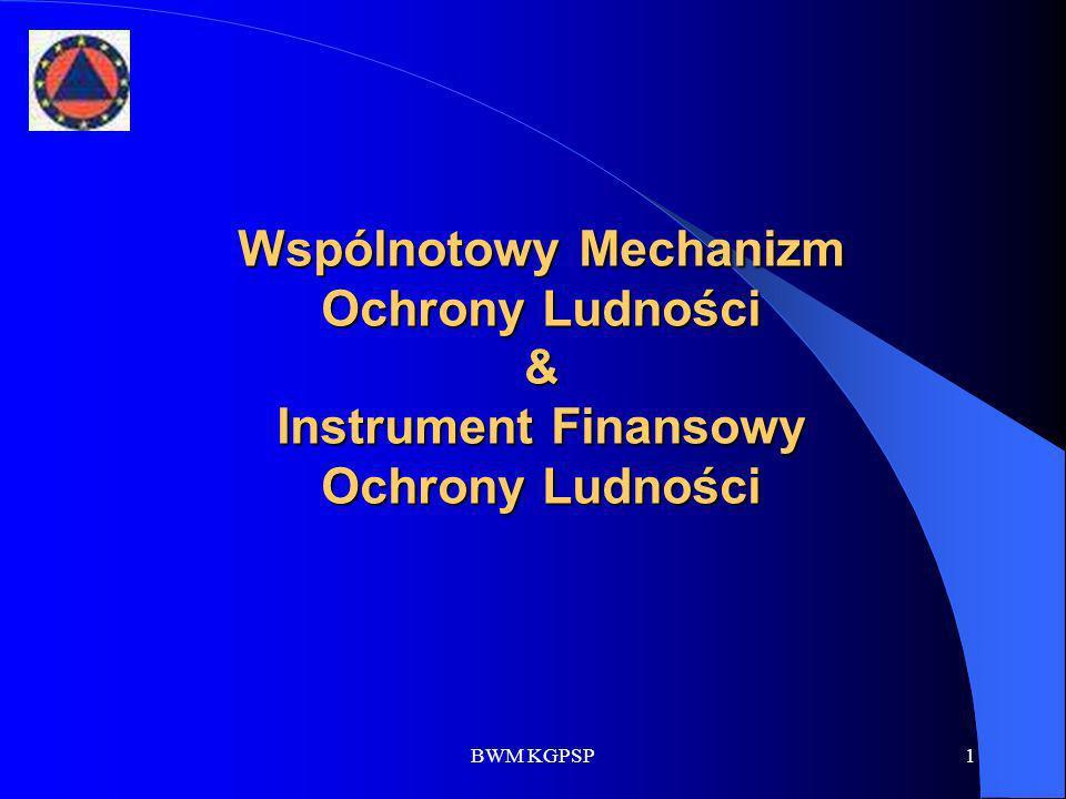 BWM KGPSP22 Budżet Instrumentu 2007 - 2013 189 800 000 EUR na 2008 r.