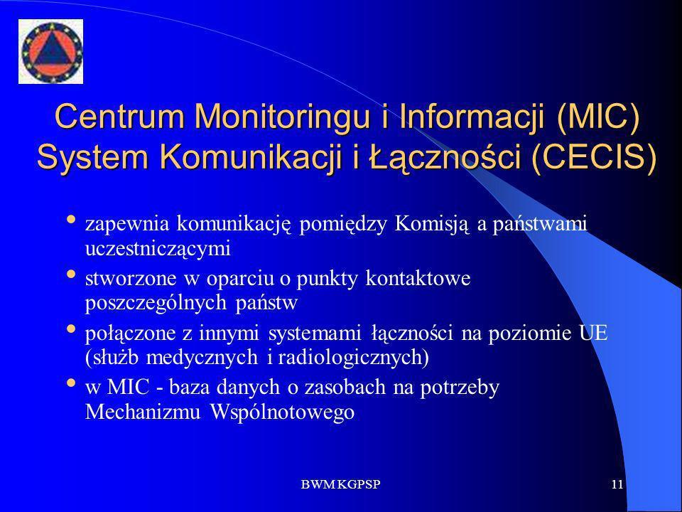 BWM KGPSP11 Centrum Monitoringu i Informacji (MIC) System Komunikacji i Łączności (CECIS) zapewnia komunikację pomiędzy Komisją a państwami uczestnicz