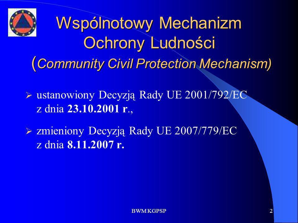 BWM KGPSP2 Wspólnotowy Mechanizm Ochrony Ludności ( Community Civil Protection Mechanism) ustanowiony Decyzją Rady UE 2001/792/EC z dnia 23.10.2001 r.