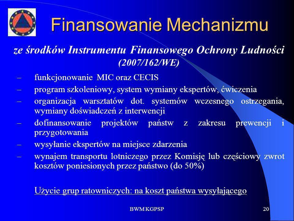 BWM KGPSP20 Finansowanie Mechanizmu – funkcjonowanie MIC oraz CECIS – program szkoleniowy, system wymiany ekspertów, ćwiczenia – organizacja warsztató