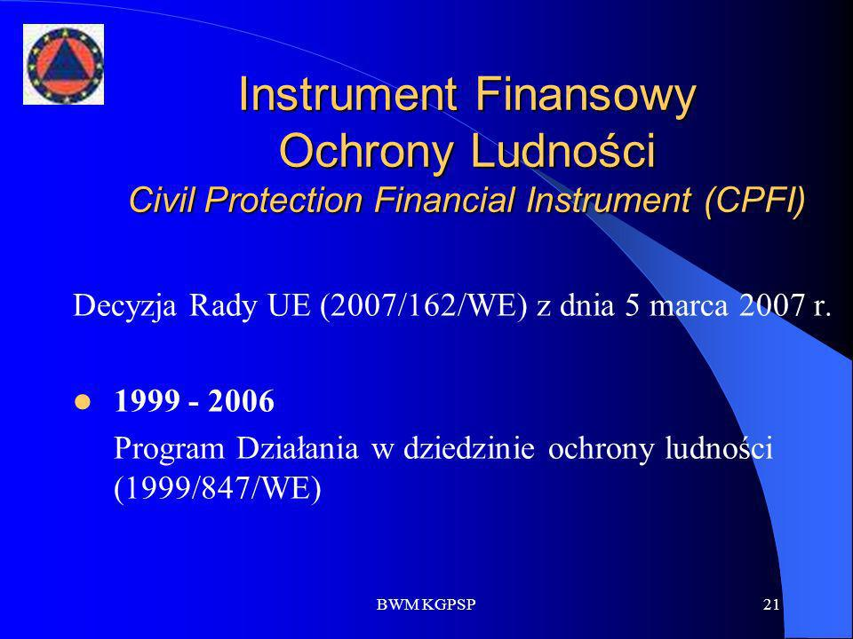 BWM KGPSP21 Instrument Finansowy Ochrony Ludności Civil Protection Financial Instrument (CPFI) Decyzja Rady UE (2007/162/WE) z dnia 5 marca 2007 r. 19