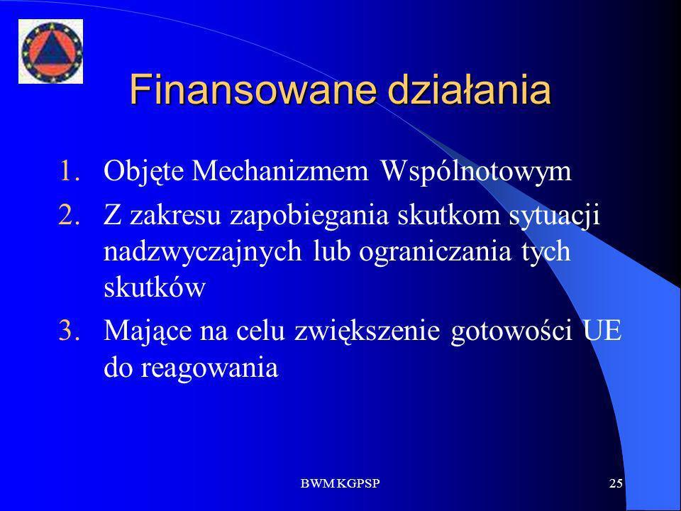 BWM KGPSP25 Finansowane działania 1.Objęte Mechanizmem Wspólnotowym 2.Z zakresu zapobiegania skutkom sytuacji nadzwyczajnych lub ograniczania tych sku