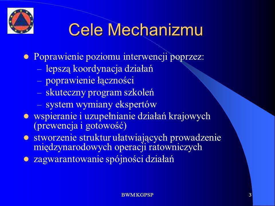 BWM KGPSP3 Cele Mechanizmu Poprawienie poziomu interwencji poprzez: – lepszą koordynacja działań – poprawienie łączności – skuteczny program szkoleń –