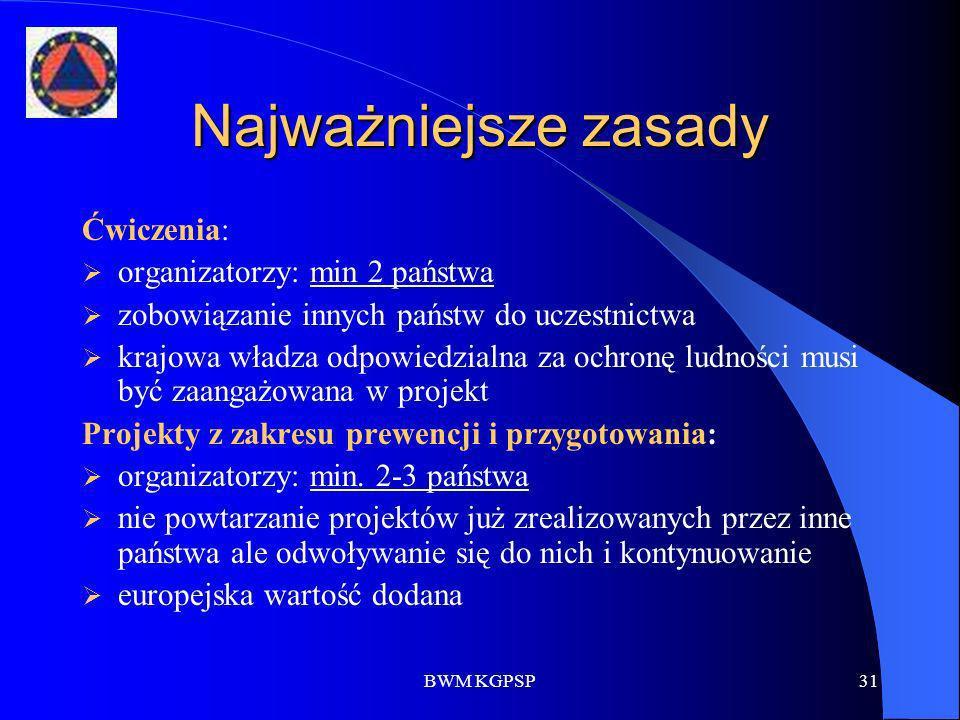 BWM KGPSP31 Najważniejsze zasady Ćwiczenia: organizatorzy: min 2 państwa zobowiązanie innych państw do uczestnictwa krajowa władza odpowiedzialna za o