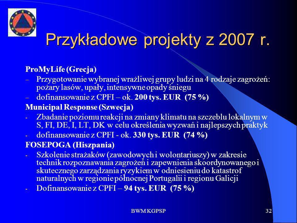 BWM KGPSP32 Przykładowe projekty z 2007 r. ProMyLife (Grecja) Przygotowanie wybranej wrażliwej grupy ludzi na 4 rodzaje zagrożeń: pożary lasów, upały,