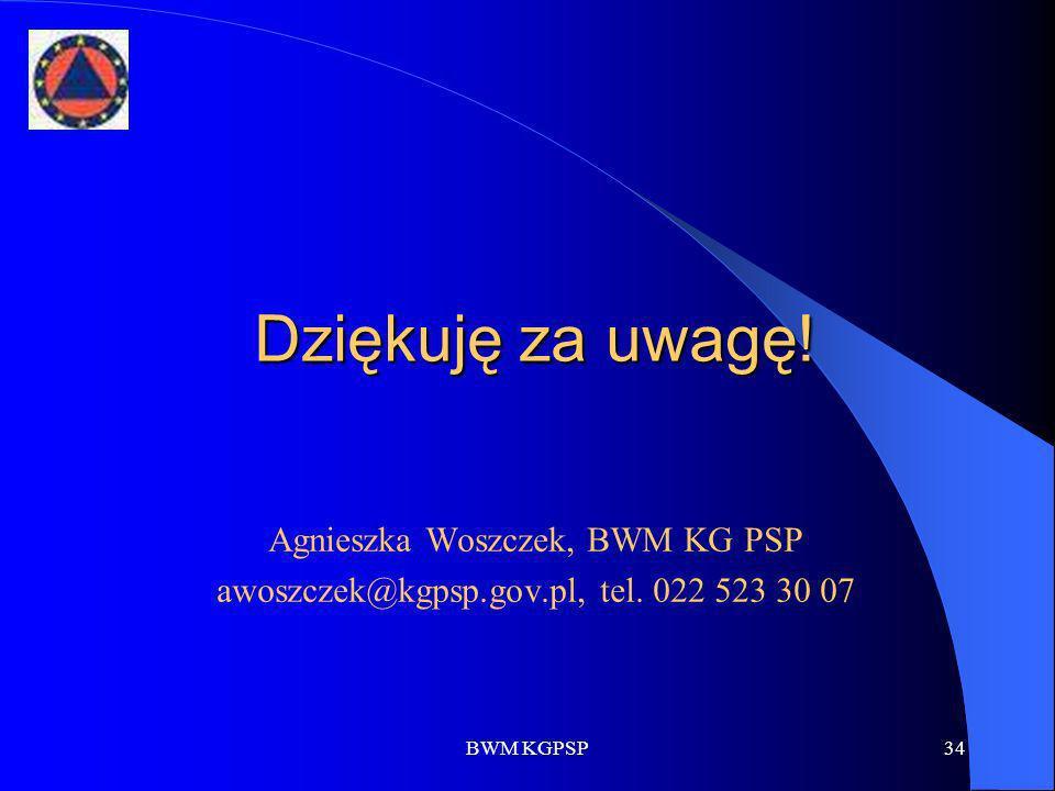 BWM KGPSP34 Dziękuję za uwagę! Agnieszka Woszczek, BWM KG PSP awoszczek@kgpsp.gov.pl, tel. 022 523 30 07