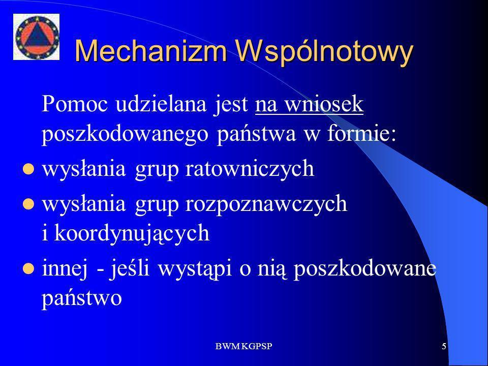 BWM KGPSP5 Mechanizm Wspólnotowy Pomoc udzielana jest na wniosek poszkodowanego państwa w formie: wysłania grup ratowniczych wysłania grup rozpoznawcz