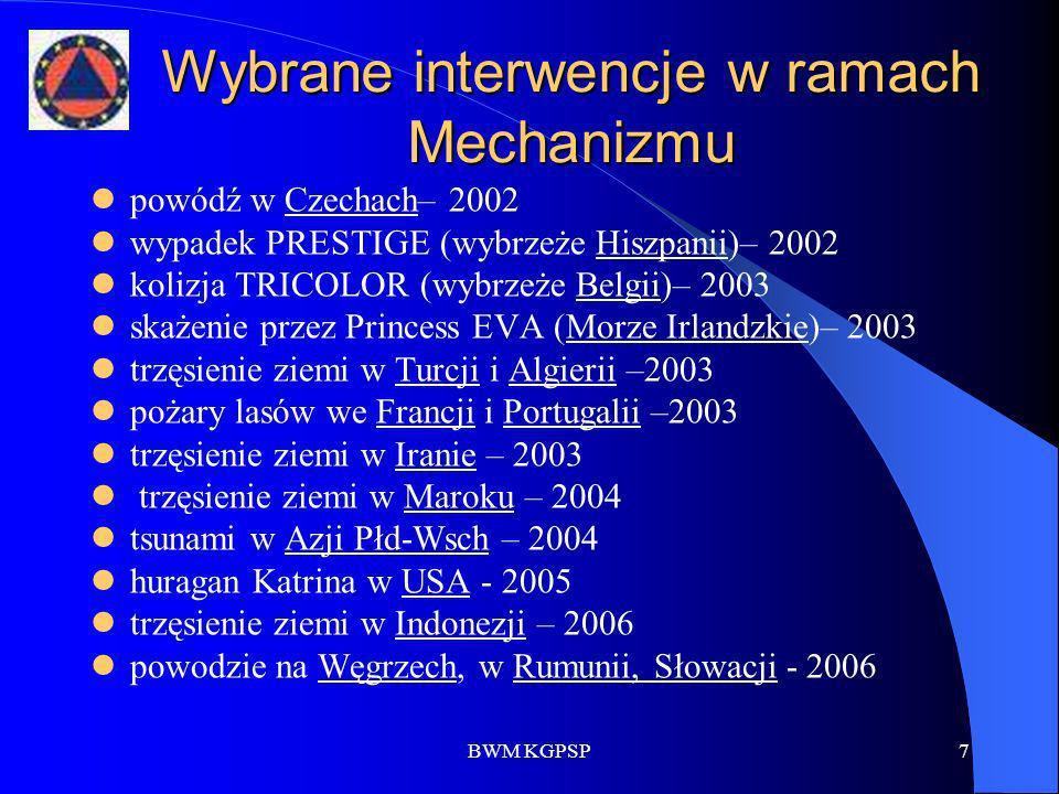 BWM KGPSP7 Wybrane interwencje w ramach Mechanizmu powódź w Czechach– 2002 wypadek PRESTIGE (wybrzeże Hiszpanii)– 2002 kolizja TRICOLOR (wybrzeże Belg