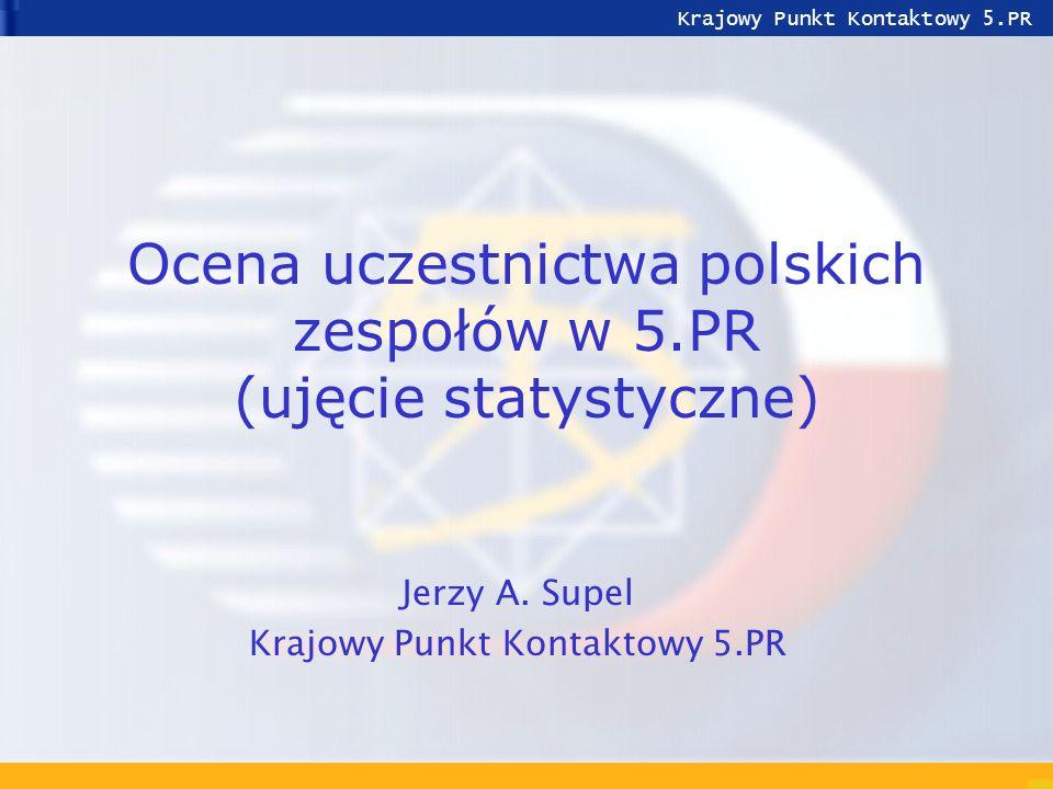 Jerzy A.Supel Udział Polski w 5.PRZakopane, czerwiec 2001 2 Polska w 5PR na tle EU-15 Składka PL MEuro160 1,17 % Budżet 5.PR MEuro13 700 Uczestników PL2 033 1,35 % Uczestników ogółem152 304 Koordynatorów PL71 0,35 % Projektów ogółem20 176 GDP PL MldEuro *141 1,82 % GDP EU15 + PL7 609 + 141 GERD PL Meuro *1 022 0,71 % GERD EU15 + CC141 200 + 2 697 Ludność PL38,5 7,9 % Ludność EU15 + CC374,5 + 110 * GDP i GERD z 1998r.