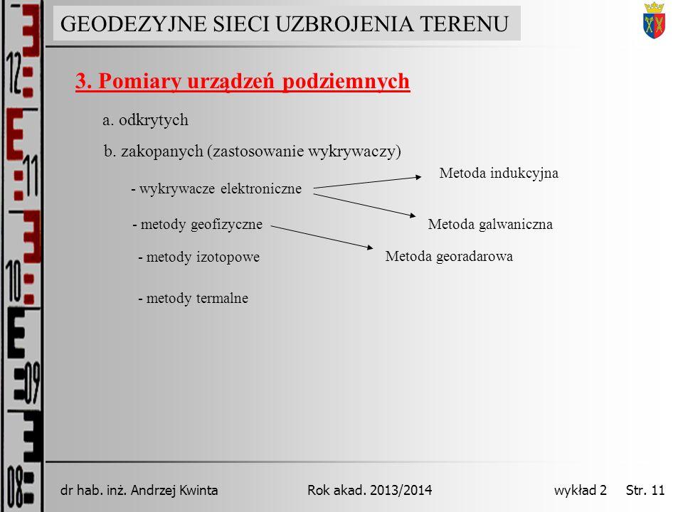 GEODEZJA INŻYNIERYJNA Rok akad. 2013/2014dr hab. inż. Andrzej Kwinta wykład 2 Str. 11 a. odkrytych b. zakopanych (zastosowanie wykrywaczy) - wykrywacz