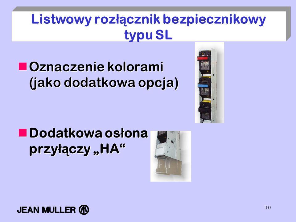 10 Listwowy roz łą cznik bezpiecznikowy typu SL Oznaczenie kolorami (jako dodatkowa opcja) Oznaczenie kolorami (jako dodatkowa opcja) Dodatkowa os ł o