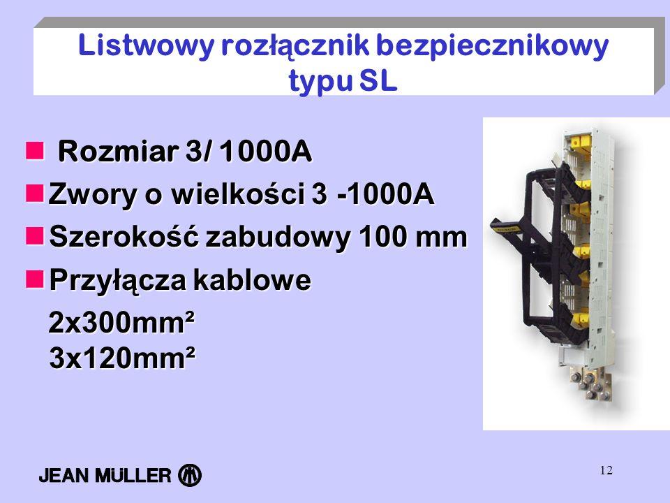 12 Listwowy roz łą cznik bezpiecznikowy typu SL Rozmiar 3/ 1000A Rozmiar 3/ 1000A Zwory o wielkości 3 -1000A Zwory o wielkości 3 -1000A Szerokość zabu