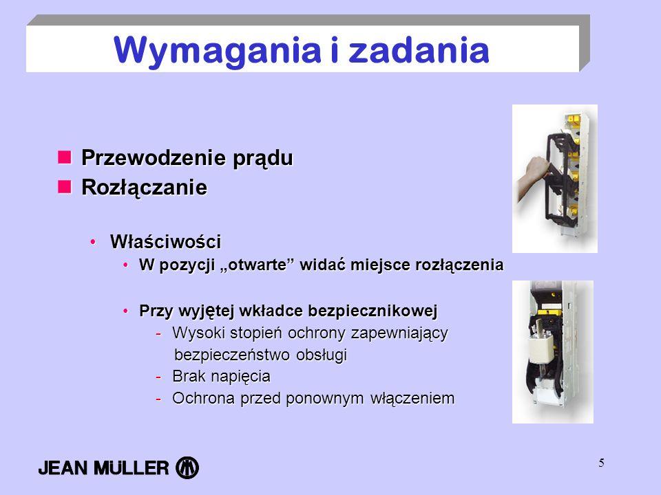 5 Wymagania i zadania Przewodzenie prądu Przewodzenie prądu Rozłączanie Rozłączanie WłaściwościWłaściwości W pozycji otwarte widać miejsce rozłączenia