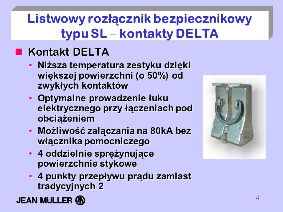 6 Listwowy roz łą cznik bezpiecznikowy typu SL – kontakty DELTA Kontakt DELTA Kontakt DELTA Niższa temperatura zestyku dzięki większej powierzchni (o