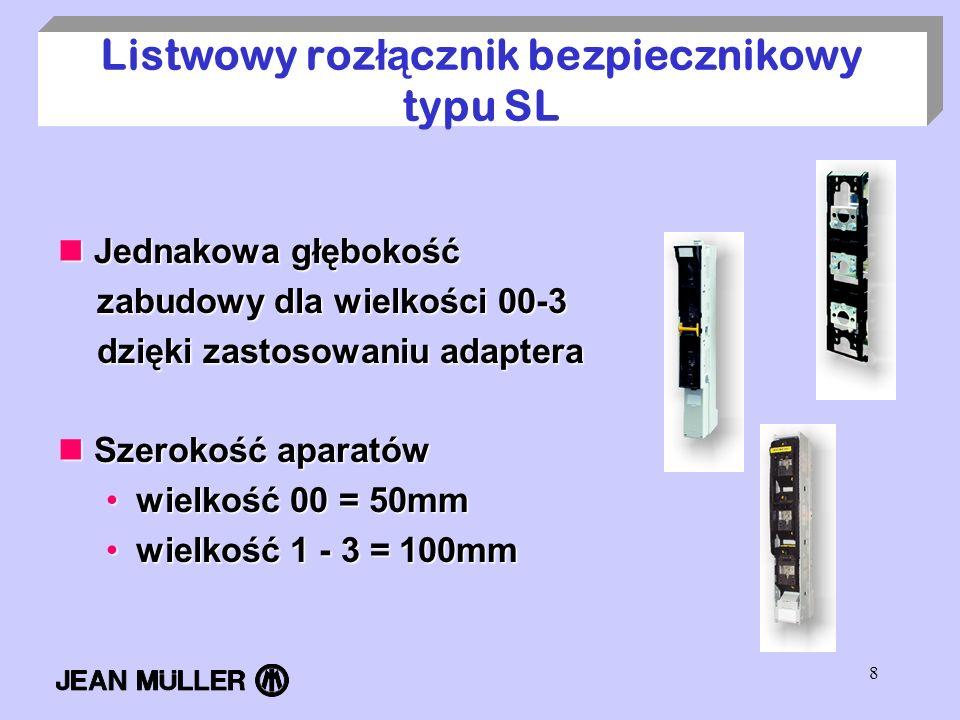 8 Listwowy roz łą cznik bezpiecznikowy typu SL Jednakowa głębokość Jednakowa głębokość zabudowy dla wielkości 00-3 zabudowy dla wielkości 00-3 dzięki