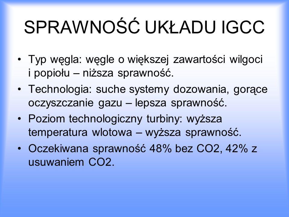 SPRAWNOŚĆ UKŁADU IGCC Typ węgla: węgle o większej zawartości wilgoci i popiołu – niższa sprawność. Technologia: suche systemy dozowania, gorące oczysz