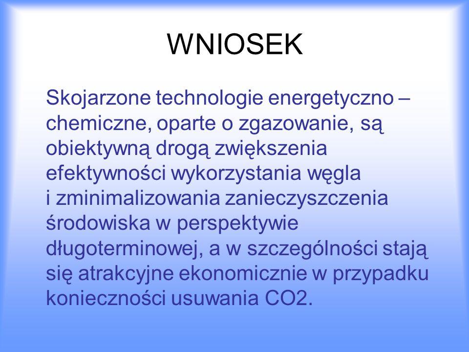 WNIOSEK Skojarzone technologie energetyczno – chemiczne, oparte o zgazowanie, są obiektywną drogą zwiększenia efektywności wykorzystania węgla i zmini