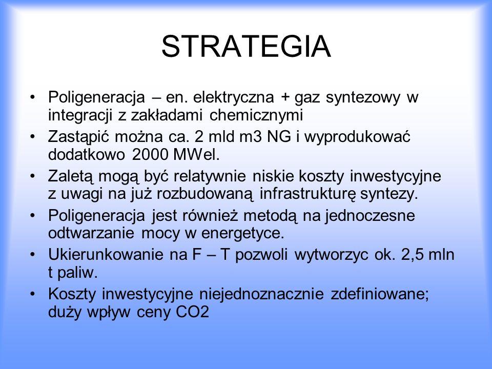 STRATEGIA Poligeneracja – en. elektryczna + gaz syntezowy w integracji z zakładami chemicznymi Zastąpić można ca. 2 mld m3 NG i wyprodukować dodatkowo