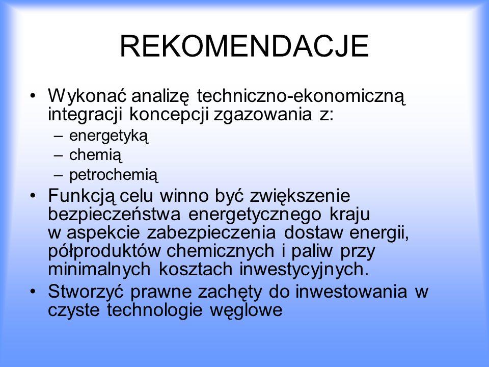 REKOMENDACJE Wykonać analizę techniczno-ekonomiczną integracji koncepcji zgazowania z: –energetyką –chemią –petrochemią Funkcją celu winno być zwiększ