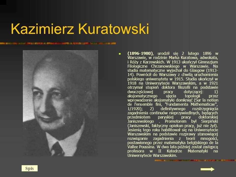 Kazimierz Kuratowski (1896-1980), urodził się 2 lutego 1896 w Warszawie, w rodzinie Marka Kuratowa, adwokata, i Róży z Karzewskich.