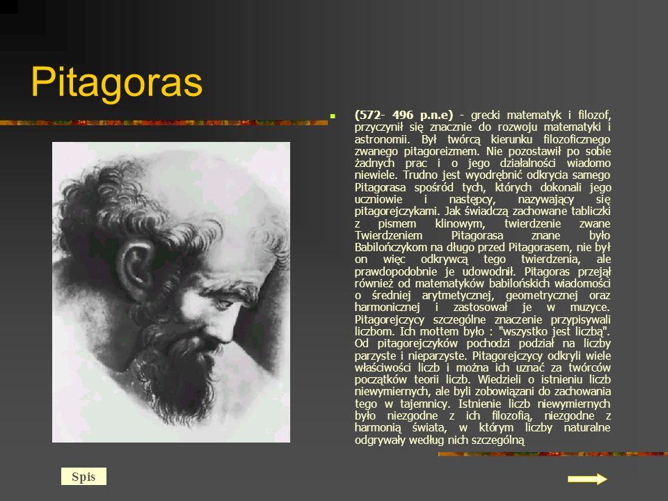 Pitagoras (572- 496 p.n.e) - grecki matematyk i filozof, przyczynił się znacznie do rozwoju matematyki i astronomii.