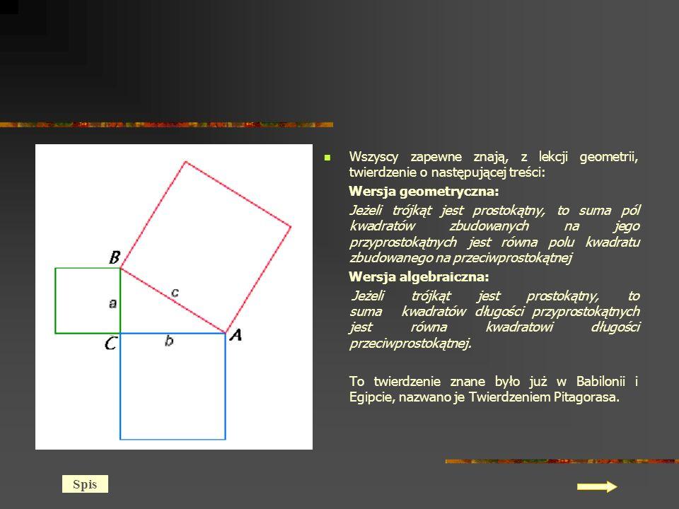 Wszyscy zapewne znają, z lekcji geometrii, twierdzenie o następującej treści: Wersja geometryczna: Jeżeli trójkąt jest prostokątny, to suma pól kwadratów zbudowanych na jego przyprostokątnych jest równa polu kwadratu zbudowanego na przeciwprostokątnej Wersja algebraiczna: Jeżeli trójkąt jest prostokątny, to suma kwadratów długości przyprostokątnych jest równa kwadratowi długości przeciwprostokątnej.