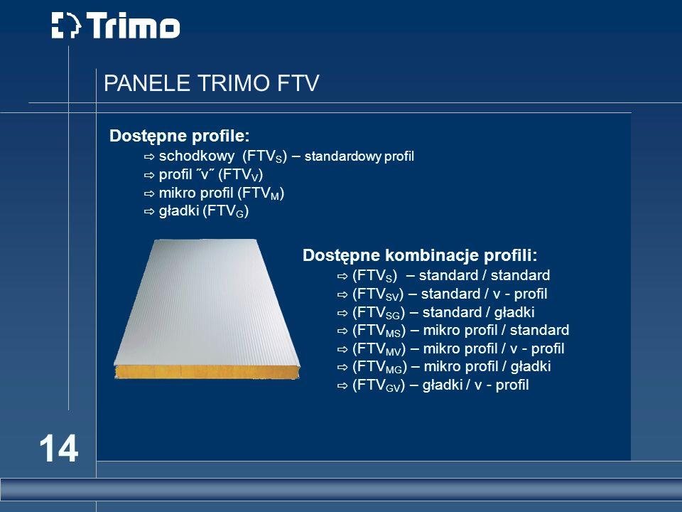 14 PANELE TRIMO FTV Dostępne profile: schodkowy (FTV S ) – standardowy profil profil ˝v˝ (FTV V ) mikro profil (FTV M ) gładki (FTV G ) Dostępne kombi