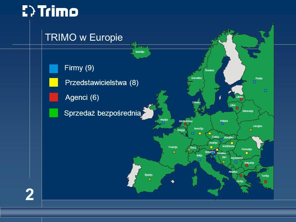 2 TRIMO w Europie Agenci (6) Przedstawicielstwa (8) Firmy (9) Sprzedaż bezpośrednia