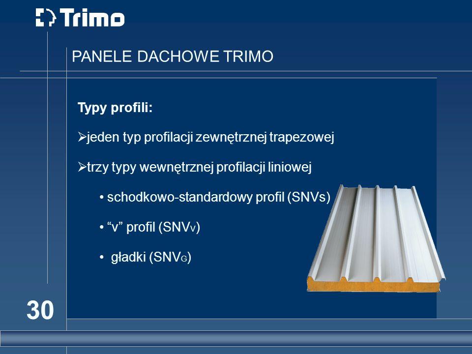 30 PANELE DACHOWE TRIMO Typy profili: jeden typ profilacji zewnętrznej trapezowej trzy typy wewnętrznej profilacji liniowej schodkowo-standardowy prof