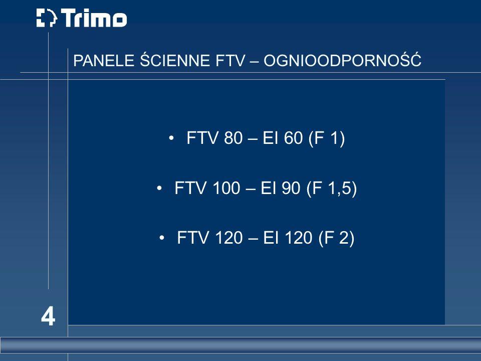 4 PANELE ŚCIENNE FTV – OGNIOODPORNOŚĆ FTV 80 – EI 60 (F 1) FTV 100 – EI 90 (F 1,5) FTV 120 – EI 120 (F 2)