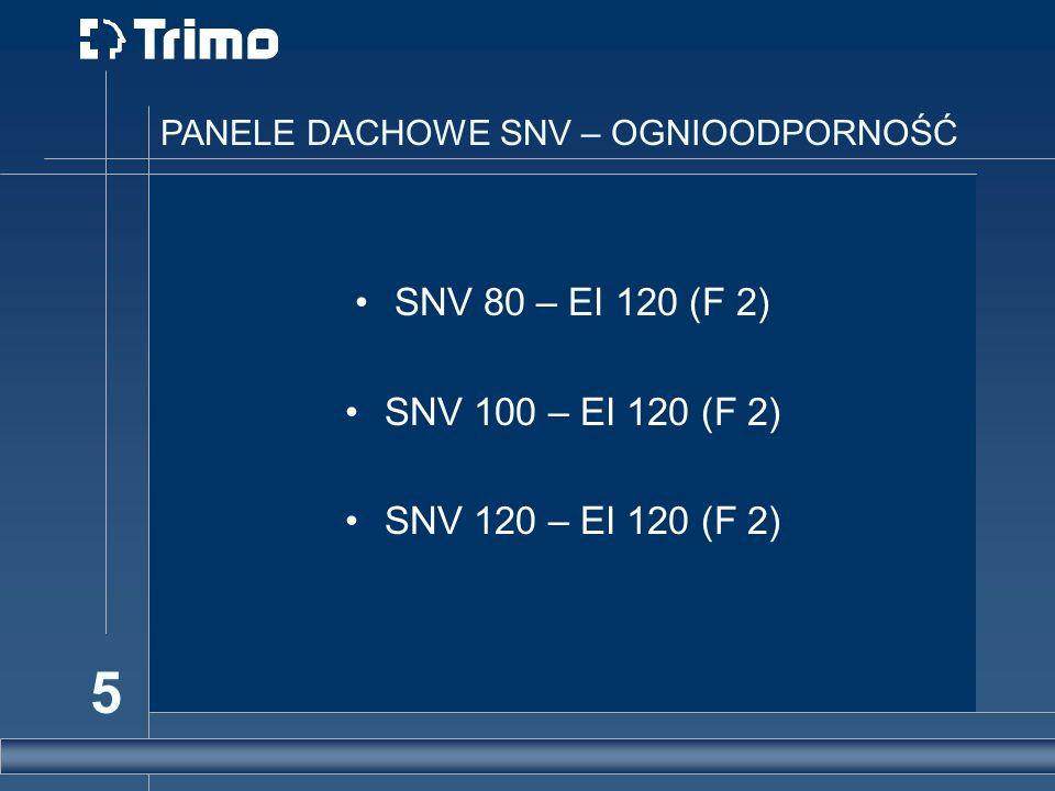 5 PANELE DACHOWE SNV – OGNIOODPORNOŚĆ SNV 80 – EI 120 (F 2) SNV 100 – EI 120 (F 2) SNV 120 – EI 120 (F 2)