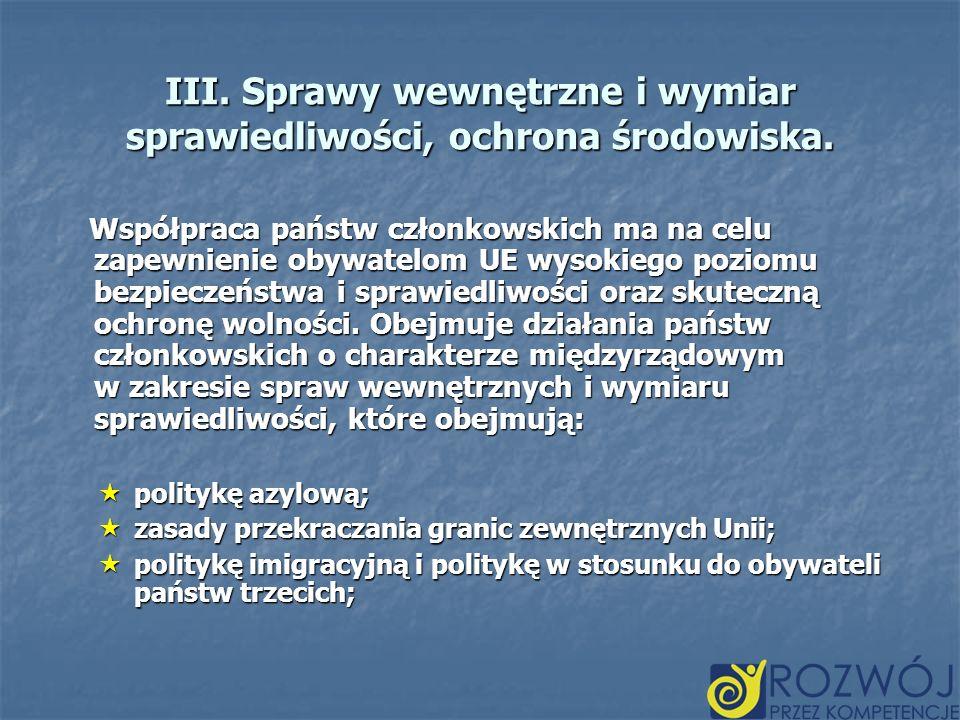 III. Sprawy wewnętrzne i wymiar sprawiedliwości, ochrona środowiska. Współpraca państw członkowskich ma na celu zapewnienie obywatelom UE wysokiego po