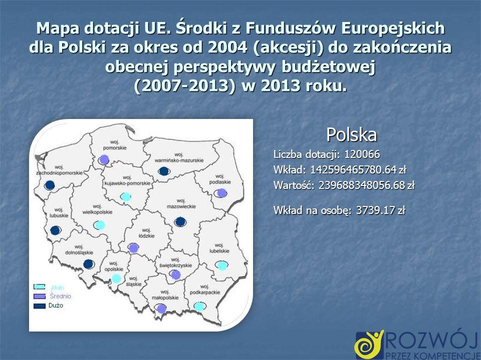 Mapa dotacji UE. Środki z Funduszów Europejskich dla Polski za okres od 2004 (akcesji) do zakończenia obecnej perspektywy budżetowej (2007-2013) w 201