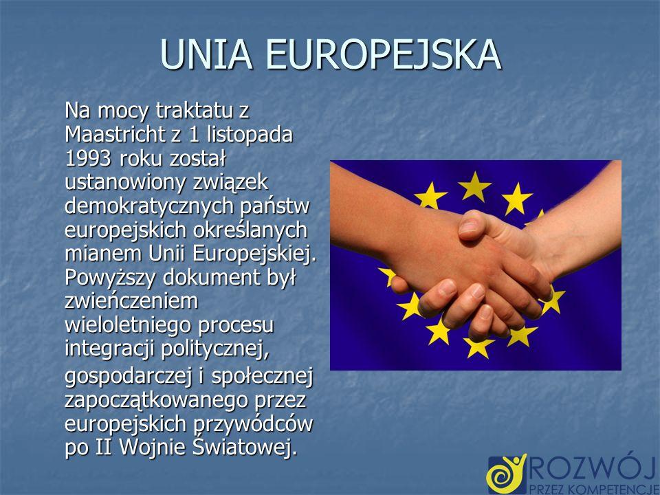 UNIA EUROPEJSKA Na mocy traktatu z Maastricht z 1 listopada 1993 roku został ustanowiony związek demokratycznych państw europejskich określanych miane