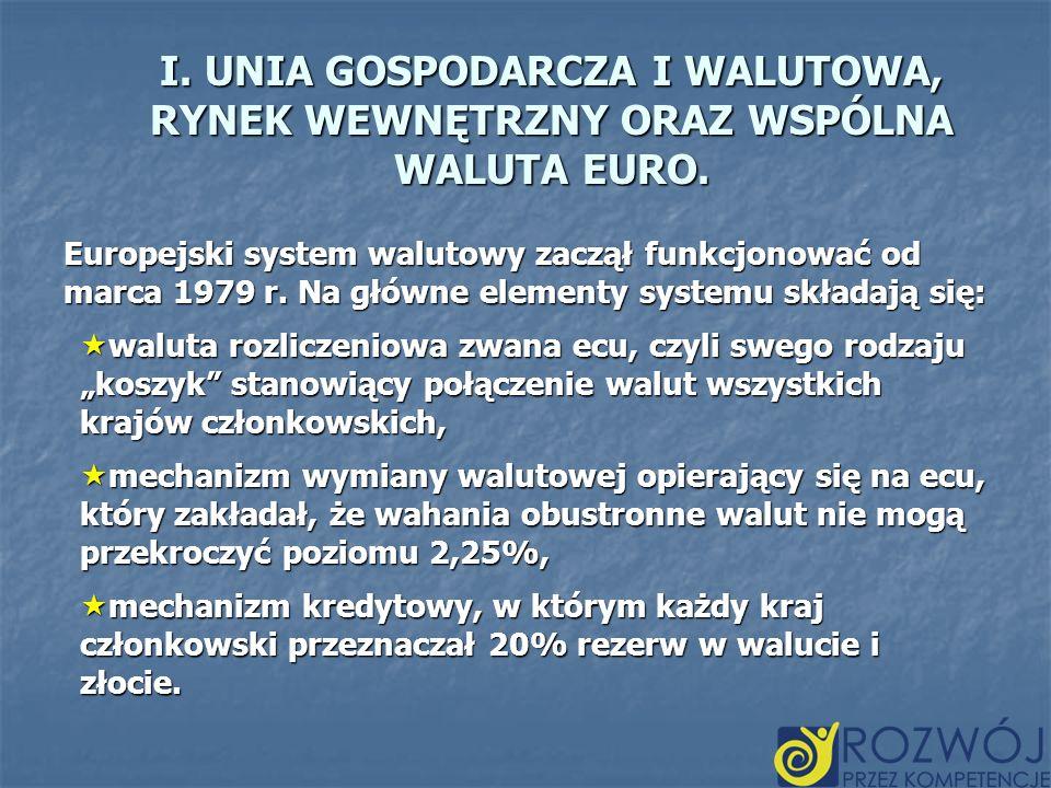 I. UNIA GOSPODARCZA I WALUTOWA, RYNEK WEWNĘTRZNY ORAZ WSPÓLNA WALUTA EURO. Europejski system walutowy zaczął funkcjonować od marca 1979 r. Na główne e