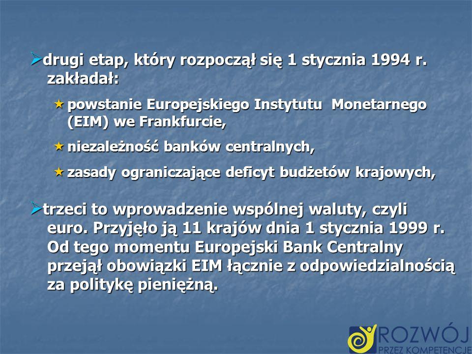 drugi etap, który rozpoczął się 1 stycznia 1994 r. zakładał: drugi etap, który rozpoczął się 1 stycznia 1994 r. zakładał: powstanie Europejskiego Inst