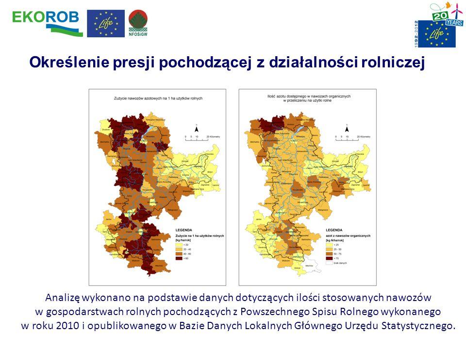 Określenie presji pochodzącej z działalności rolniczej Analizę wykonano na podstawie danych dotyczących ilości stosowanych nawozów w gospodarstwach ro