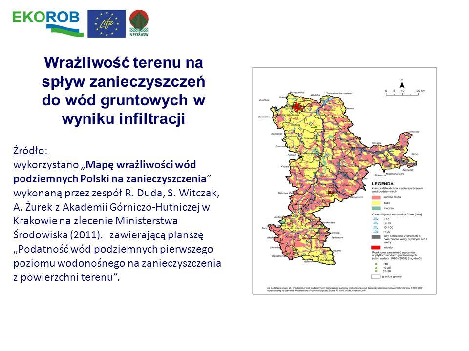 Wrażliwość terenu na spływ zanieczyszczeń do wód gruntowych w wyniku infiltracji Źródło: wykorzystano Mapę wrażliwości wód podziemnych Polski na zanie