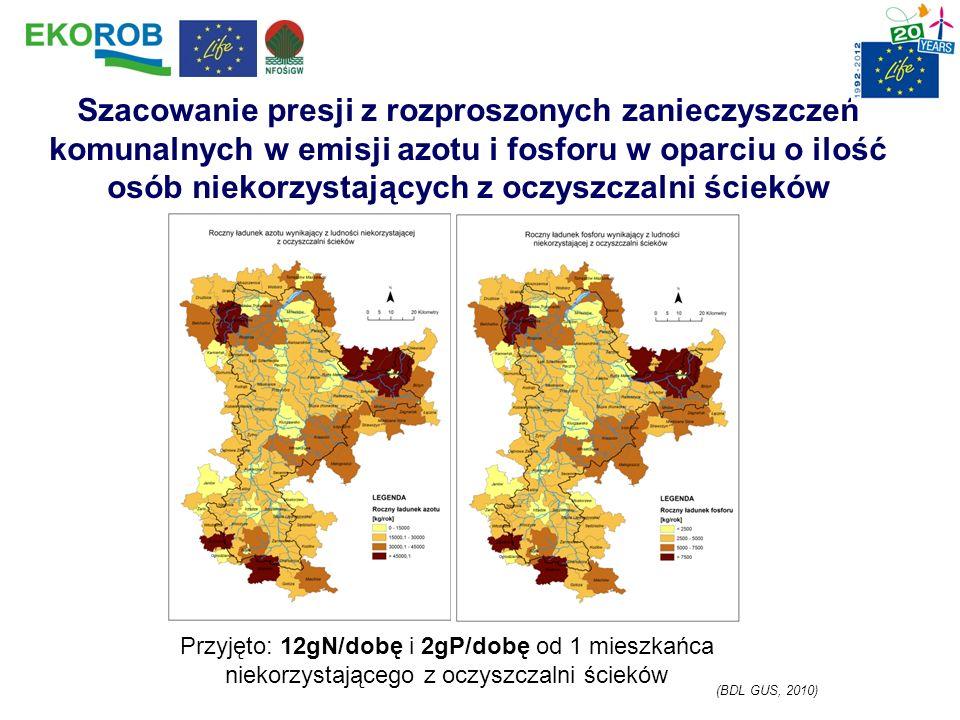 Szacowanie presji z rozproszonych zanieczyszczeń komunalnych w emisji azotu i fosforu w oparciu o ilość osób niekorzystających z oczyszczalni ścieków