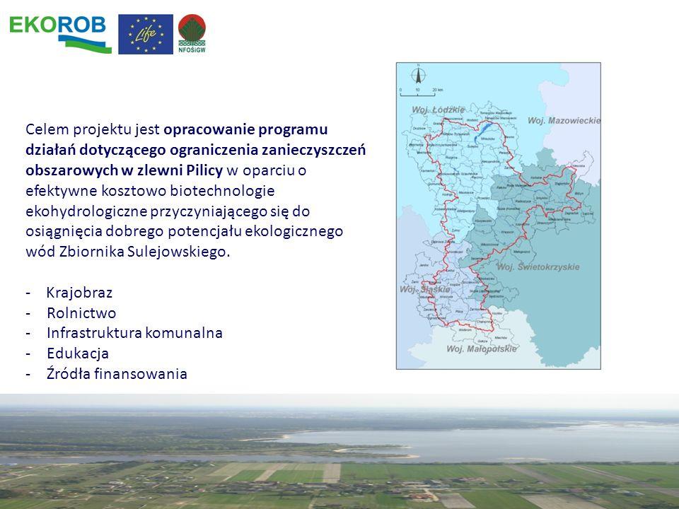 Celem projektu jest opracowanie programu działań dotyczącego ograniczenia zanieczyszczeń obszarowych w zlewni Pilicy w oparciu o efektywne kosztowo bi
