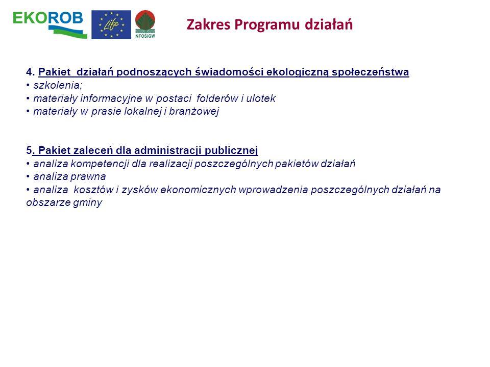 4. Pakiet działań podnoszących świadomości ekologiczną społeczeństwa szkolenia; materiały informacyjne w postaci folderów i ulotek materiały w prasie