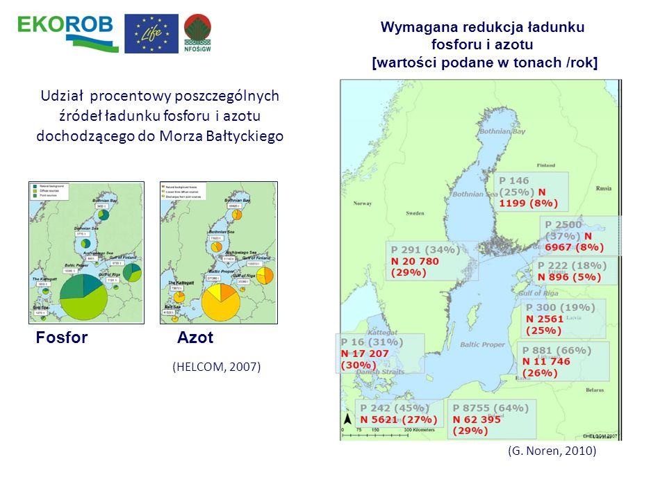 (G. Noren, 2010) FosforAzot Udział procentowy poszczególnych źródeł ładunku fosforu i azotu dochodzącego do Morza Bałtyckiego Wymagana redukcja ładunk