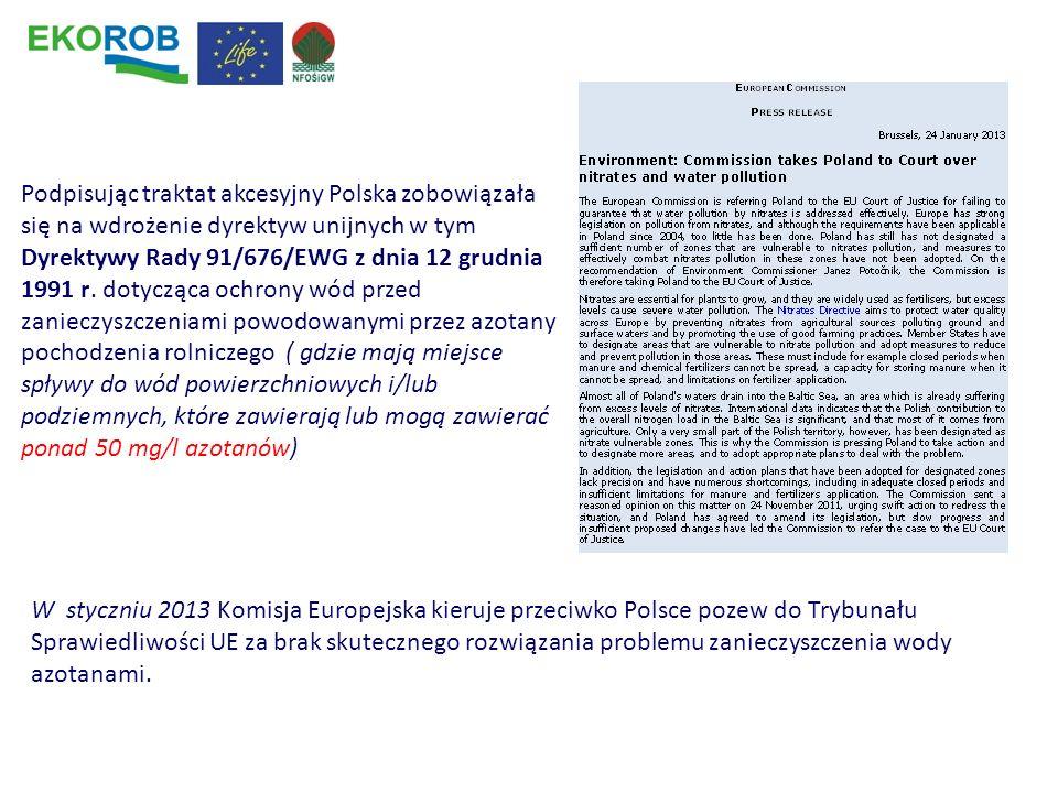 Podpisując traktat akcesyjny Polska zobowiązała się na wdrożenie dyrektyw unijnych w tym Dyrektywy Rady 91/676/EWG z dnia 12 grudnia 1991 r. dotycząca