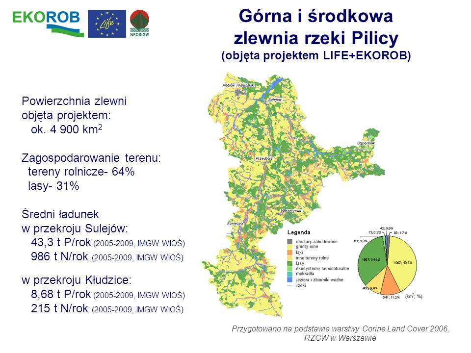Górna i środkowa zlewnia rzeki Pilicy (objęta projektem LIFE+EKOROB) Powierzchnia zlewni objęta projektem: ok. 4 900 km 2 Zagospodarowanie terenu: ter