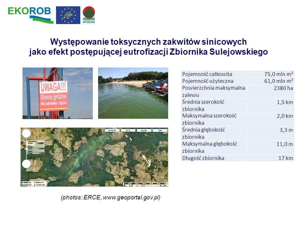 (photos: ERCE, www.geoportal.gov.pl) Występowanie toksycznych zakwitów sinicowych jako efekt postępującej eutrofizacji Zbiornika Sulejowskiego Pojemno