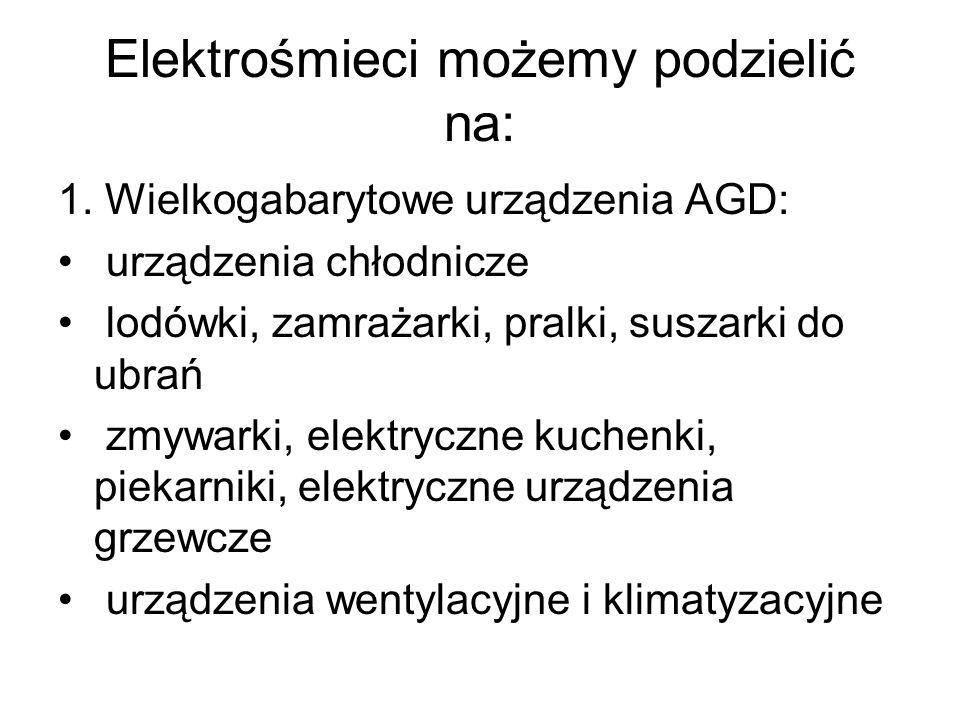 Elektrośmieci możemy podzielić na: 2.