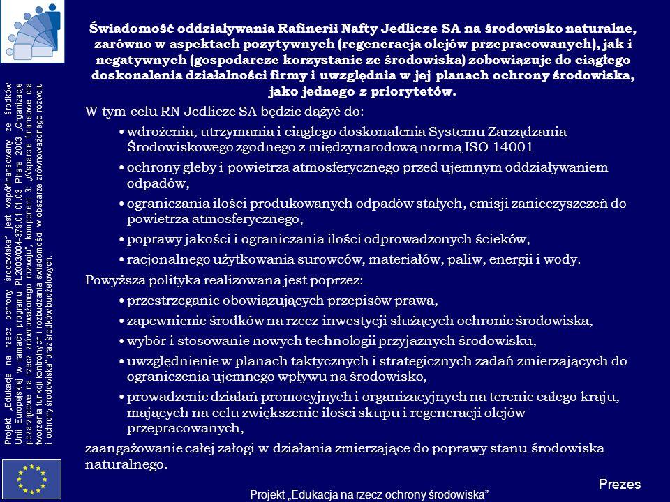 Projekt Edukacja na rzecz ochrony środowiska Projekt Edukacja na rzecz ochrony środowiska jest współfinansowany ze środków Unii Europejskiej w ramach programu PL2003/004-379.01.01.03 Phare 2003 Organizacje pozarządowe na rzecz zrównoważonego rozwoju, komponent 3: Wsparcie finansowe dla tworzenia funkcji kontrolnych i rozbudzania świadomości w obszarze zrównoważonego rozwoju i ochrony środowiska oraz środków budżetowych.